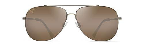 Maui Jim Cinder Cone Aviator Sunglasses, Gold Matte/HCL Bronze Polarized, Medium