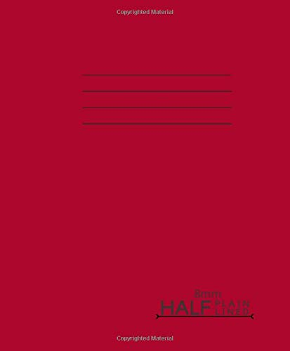 Half Plain Half Lined 8mm: 165mm x 200mm Half Blank Top Plain Bottom Lined Exercise Book, 90 gsm Paper, 64 Pages – Red cover