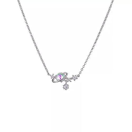 QiuYueShangMao Colgante de Collar Moda Cielo Estrellado Collar Corto Diamante circón joyería Cadena de clavícula para Mujer Regalo Regalo para Ella