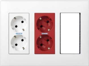 Simon - Kit Caja Pared Superficie-Empotrar 3 Elementos Dobles con 1 enchufe Doble,1 Sai Doble,2 Elementos Vacíos Blanco Simon 500 Cima