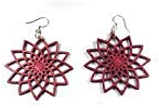 product image for Green Tree Jewelry Star Flower Earrings Wine Wood Wooden Laser Cut #1234