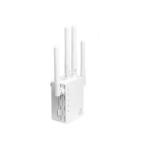 Repetidor De WiFi, Amplificador De Señal De Enrutador Inalámbrico De 2.4GHZ Y 5.8 GHz, Repetidor De 1200M, WPS Y Configuración De Un Botón, Puerto Fast Ethernet,Blanco