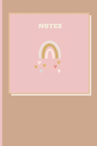 Notes: Cute Tan and Pink Bohemian Rainbow Blank Lined Notebook Journal