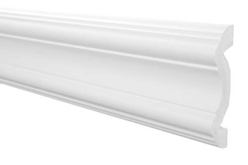 Wandleisten Sparpaket E-30 | leicht und stabil | extrudiertes Styropor | Stuckprofile | Wanddekor | modern weiß | dekorativ | XPS | 20 x 80 mm | 20 Meter