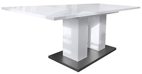 Vladon Esstisch Wohnzimmertisch Nadine ausziehbar 160/200 x 90 x 75 cm in Weiß Hochglanz, Bodenplatte in Anthrazit matt