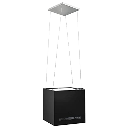 vidaXL Inselhaube Hängend Freihängend Touch-Sensor LCD Kohlefilter Inseldunstabzugshaube Dunstabzugshaube 37cm Beschichteter Stahl
