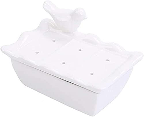 Jabonera Plato de jabón Blanco Creativo con múltiples Orificios de Drenaje Múltiple Lindo Cerámica Pase de jabón de Doble Capa Se Puede Usar como para el Conjunto de Accesorios para el baño famil