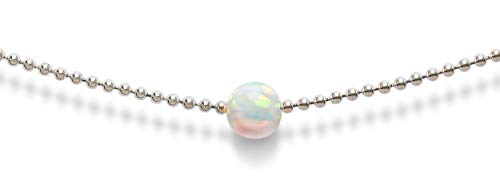 Opal Necklace, Choker Necklace | 14k White Gold Dipped Ball Chain Single Fire Opal Necklaces For Women | Celebrity Approved, Dainty Gold Necklace, Small Necklace for Everyday Look