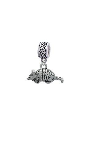 Silvertone Small Armadillo - Celtic Knot Charm Bead