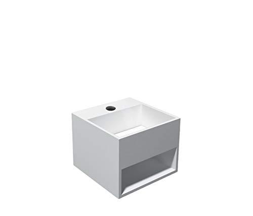 Bernstein Badshop Wandwaschbecken aus Mineralguss PB2035 weiß - Waschtisch mit Ablagefach- 32,5 x 32,5 x 25 cm