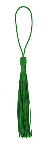 Mandala Crafts Decorative Tassel with Loop for Jewelry Making, Bookmarks, Books, Gifts, Key Chains, Malas, Pillows; Pack of 100 (Green, 3 Inches)
