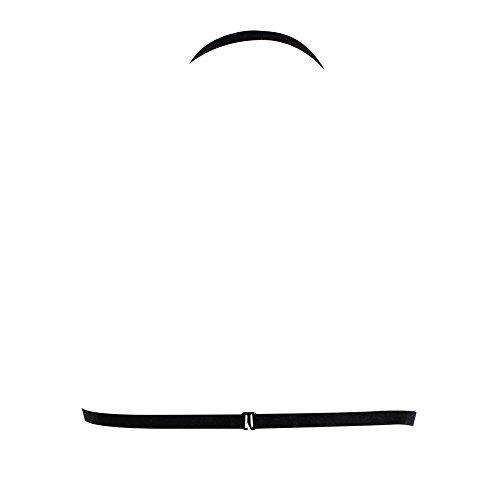 Romacci Women's Harness Bra Strappy Cage Lingerie Hollow Out Bra Lace Bralette Crop Top Black
