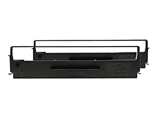 Epson SIDM Black Ribbon Cartridge - Cinta de impresoras matriciales, dualpack (C13S015646) LQ-350/300+/300+II, Negro, 2500000 caracteres, Negro, Epson) Ya disponible en Amazon Dash Replenishment