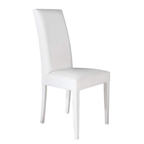 Milani Home s.r.l.s. Sedia Moderna di Design Ecopelle Bianca per Interno Sala da Pranzo Salotto Cucina Ufficio