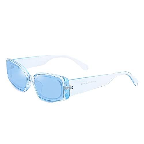 Gafas de sol rectangulares para hombres y mujeres Retro Gafas de sol pequeñas UV 400 Protección clásica marco cuadrado gafas señoras (azul transparente)
