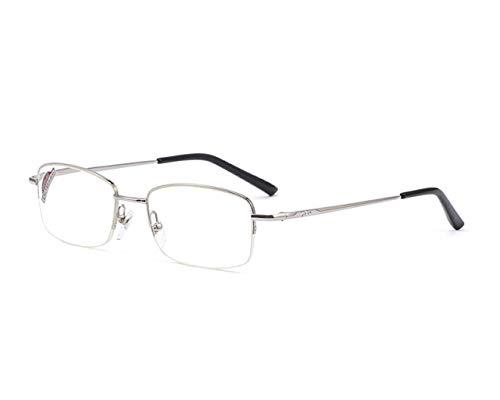 QKDSA Lesebrille, ultraleichte, modische Brille für Herren und Damen, komfortable und Elegante Lesebrille aus Harz (Farbe : Silber, größe : +2.5X)