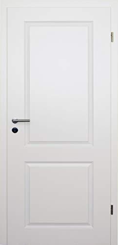HORI® Zimmertür Komplettset mit Zarge und Türdrücker I Innentür weiß lackiert mit zwei Füllungen I Höhe 198,5 cm I Anschlag, Breite und Wandstärke wählbar I DIN rechts I 1985 x 860 x 140 mm