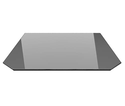 Sechseck 85x110cm Glas schwarz - Funkenschutzplatte Kaminbodenplatte Glasplatte f. Kaminofen Ofenunterlage (Sechseck 85x110cm Glas schwarz mit Dichtung)