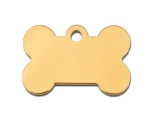 Premium Polished Metal Collection Bone Shape Personalized 2 Side Custom Engraved Pet ID Tags! (Polished Brass, Small (1.187' x.75))