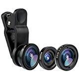 KOLPCTT Fisheye Lens - Universal 3-in-1 Mobile Phone Camera Clip Lens, Macro + 180 Degree Supreme FishEye + 0.67X Wide Angle + 0.4X Wide Lens,Black