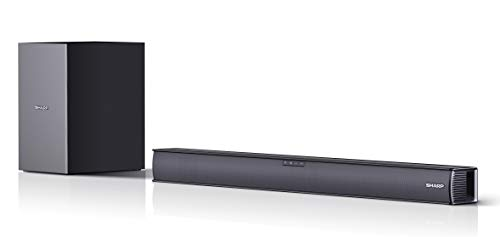 SHARP HT-SBW182 Soundbar 2.1 Slim con Subwoofer inalámbrico, Bluetooth con HDMI ARC/CEC, 160W, Audio óptico Digital, AUX, 74 cm, Color Negro