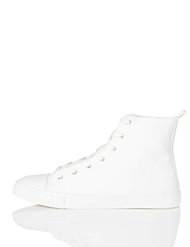 find. Sneaker Damen High Tops aus Stoff mit Retro-Design, Weiß (White), 35.5 EU