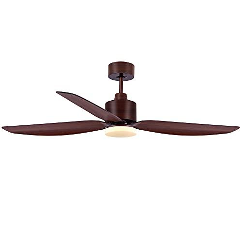 SOLLA-Ventilador de techo con luz y mando a distancia, 5 aspas, 137 cm de diámetro, 6-Velocidades, 4 ajustes de temporizador para dormir, Función verano/invierno, Reversible DC Motor (marrón)