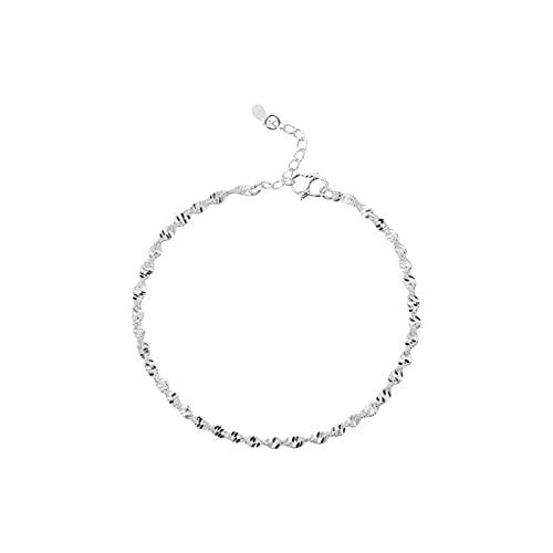 DOOLY Pulseras de Cadena Trenzadas Elegantes Simples de Moda de Plata de Ley 925 joyería para Mujer Regalos de Tobillera de Onda