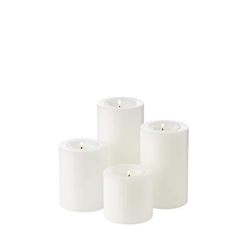 EDZARD 4er Set Teelichthalter Dauerkerze Cornelius Durchmesser 6 cm, Höhen 6, 8, 10, 12 cm, hitzebeständig bis 90 Grad