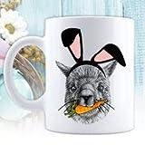 N / A Felices Pascuas, Tazas de café con Leche, Regalo para Pascua, Canasta de Pascua, Taza de cerámica, Taza Divertida de Pascua, Conejito de Llama, Llama, Orejas de Conejo