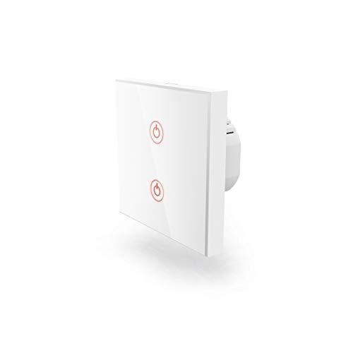 Hama Wi-Fi Touch Lichtschalter (kompatibel mit Alexa/Google Home, Unterputz, ohne Hub, Timer, App-/Sprachsteuerung (z.B. Echo Dot), 2 Lampen steuerbar, 2,4GHz, IFTTT, WLAN Glas Wandschalter)