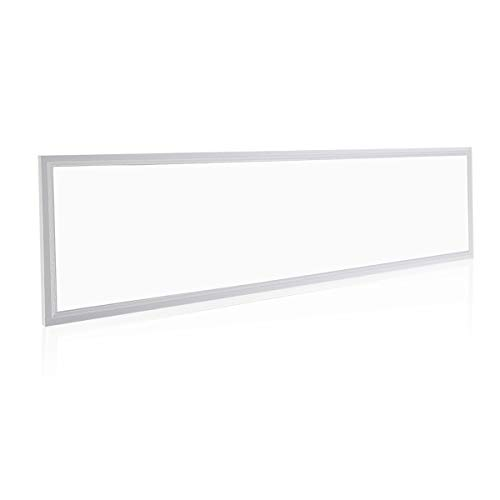 OUBO LED Panel 120x30cm Kaltweiß / 48W / 4600lm / 6000K / Silberrahmen Lampe dünn Ultraslim Deckenleuchte Wandleuchte Einbauleuchten, inkl. Trafo und Anbauwinke