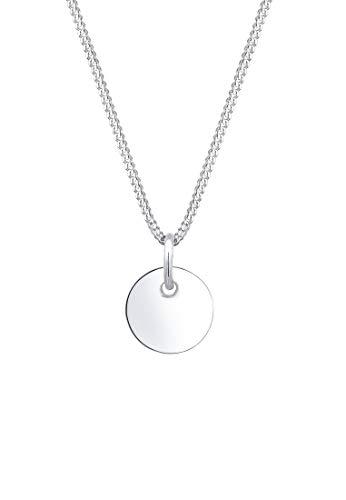 Elli Halskette Damen mit Plättchen Anhänger im Basic Geo Look in 925 Sterling Silber 45 cm Länge