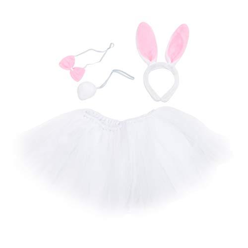 IMIKEYA Disfraz de Conejito de Pascua Set Tut Blanco Falda Orejas de Conejo Diadema Pajarita Cola Animal Accesorios de Disfraces de Fantasa para Nios Nias