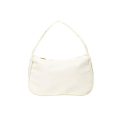 Casual Nylon Tuch Handtasche, 90er Jahre Umhängetasche Damen, Frau Vintage Shoulder Crossbody Handtasche, Messenger Handtasche mit Reißverschluss Abendtasche (Schwarz)