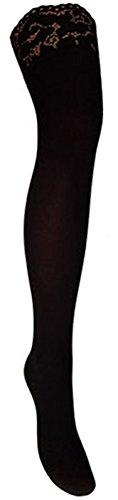 Warme halterlose Strümpfe 100 den blickdicht versch. Spitzenabschlüsse mit Silikonstreifenn (M, schwarz)