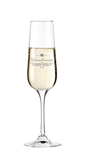 KS Laserdesign Leonardo Sektglas mit Namensgravur - personalisiert mit Wunschname, Geschenkidee, Geburtstag, Vatertag, Muttertag, Weihnachten
