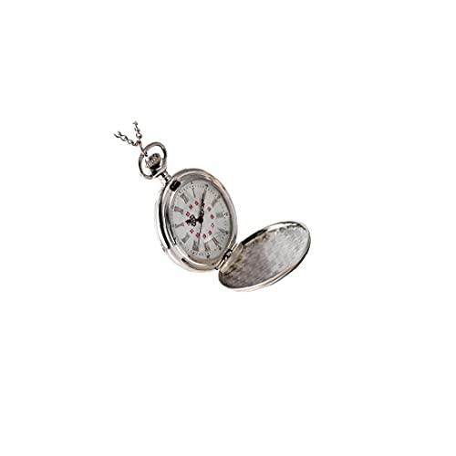 FeelMeet Reloj Unisex Reloj de Bolsillo del análogo de Cuarzo de Bolsillo clásico con Cadena de Plata árabe Esfera Blanca, múltiples números de Uso Personalizada Modelo de Gran tamaño de Plata
