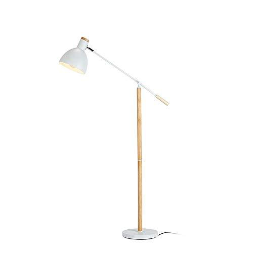 ZRABCD Moderne Stehlampe, weiße Stehlampe mit verstellbarer Schwinge, Pedalschalter, E27-Buchse, max. 40 W, H105 cm, Holz-Stehleuchte für Wohnzimmer, Schlafzimmer, Büro, Arbeitszimmer