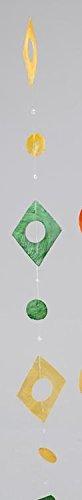 Trendy hangdecoratie slinger rond of vierkant in schelpook, geel groen 180 cm