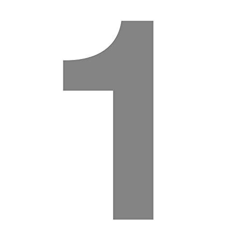 Zahlen-Aufkleber Nr. 1 in silber I Höhe 10 cm I selbstklebende Haus-Nummer, Ziffer zum Aufkleben für Außen, Briefkasten, Tür I wetterfest I kfz_675_1