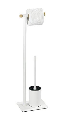 WENKO Combiné WC Macao - Porte-brosse WC, Acier, 21 x 70.5 x 15 cm, Blanc