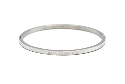 Oh My Shop BC2836F Armreif aus versilbertem Stahl mit Botschaft Hakuna Matata
