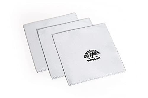 BIOBAUM®️ 3X Mikrofasertuch 20x20cm im Dreierpack für Brillen, Smartphones, Bildschirmen UVM. in Optikerqualität