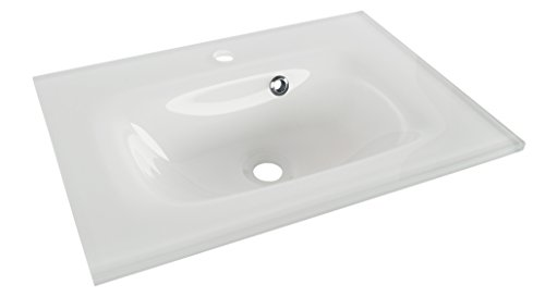 FACKELMANN YEGA Glasbecken 60 / Waschtisch aus Glas/Maße (B x H x T): ca. 60,5 x 13,5 x 42 cm/Aufsatzwaschbecken/hochwertiges Waschbecken fürs Badezimmer und WC/Farbe: Weiß/Breite: 60,5 cm