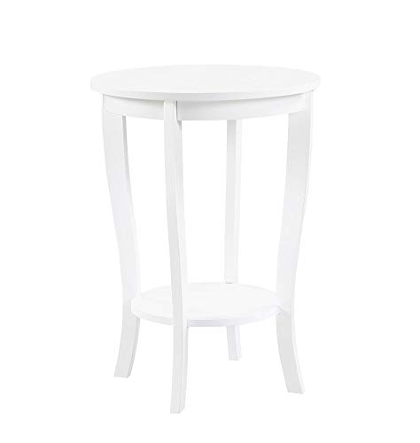 Convenience Concepts American Heritage Round End Table, White