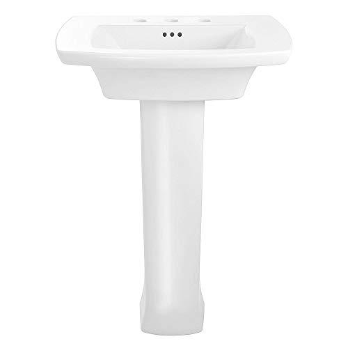 American Standard 0445800.020 Edgemere Pedestal Bathroom Sink – 8 Inch Centers, 8-inch, White