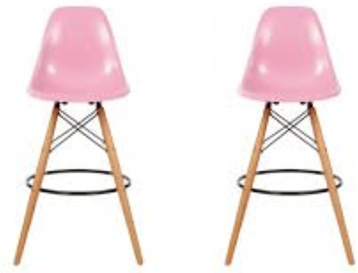 DS Inspired Eiffel Style Breakfast Bar stool with Wooden Legs (Pink, 1)