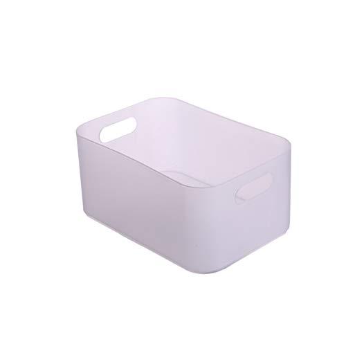 Cesta de Almacenamiento de Plástico Cesta de Almacenamiento de Cosméticos Caja de Almacenamiento de Aperitivos para Artículos Diversos (Blanco transparente)