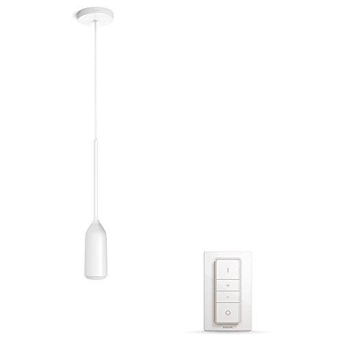 Philips Hue Devote Led-hanglamp, wit, incl. dimschakelaar, smart home hanglamp voor keuken, eetkamer, slaapkamer, woonkamer, met afstandsbediening